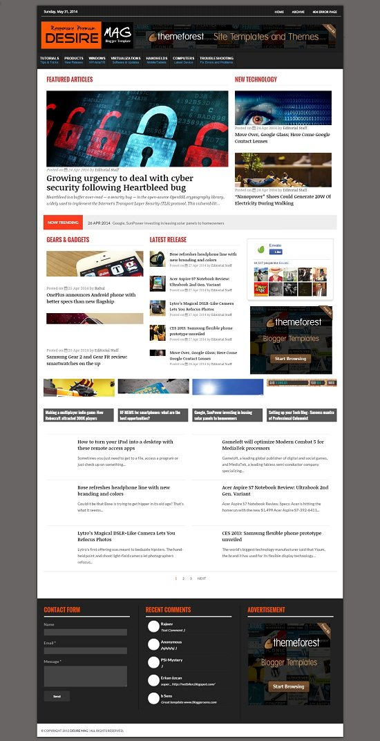 Desire Mag - Responsive Magazine Blogger Template