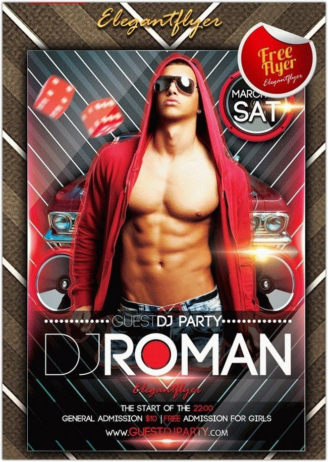 Dj Roman – Club and Party Free Flyer PSD Template