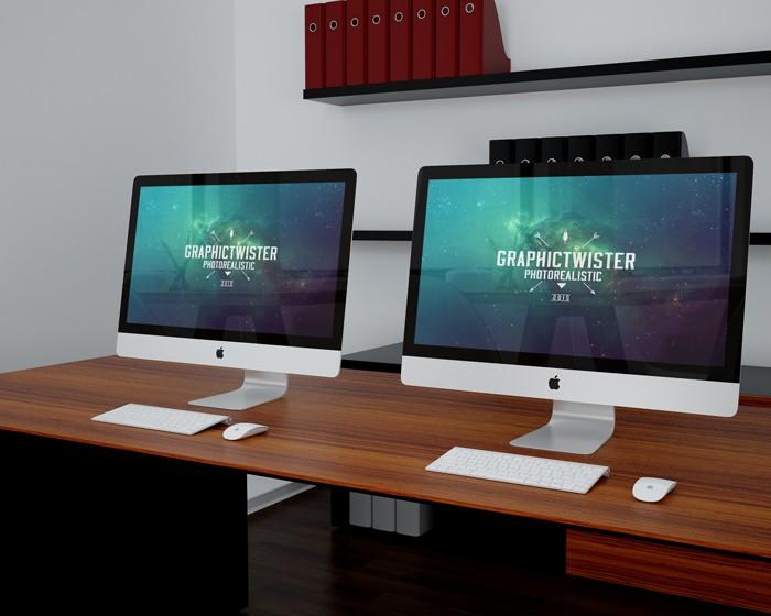 Double iMac Office Mockup