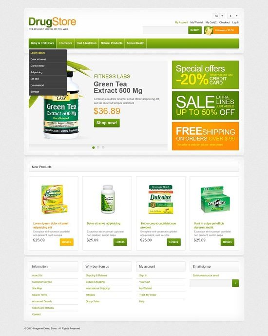 Drug Store The Biggest Choice Magento Theme