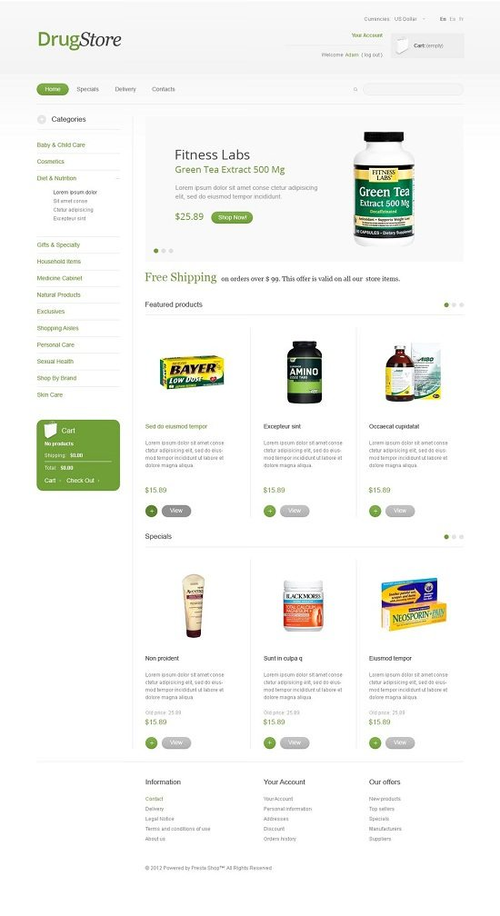 Drug Store Theme PrestaShop