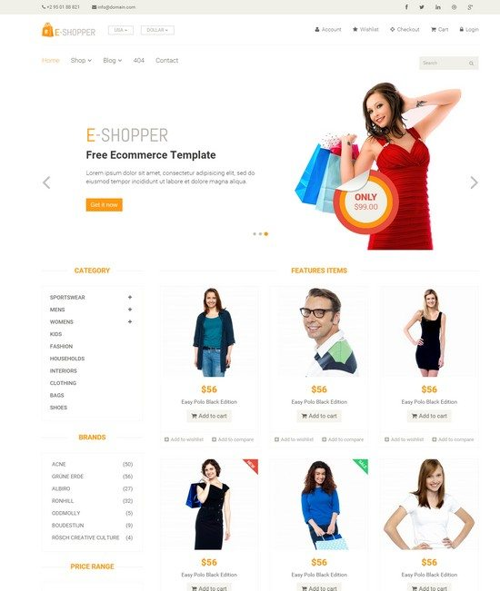 E-Shopper – Best Free Ecommerce HTML Template
