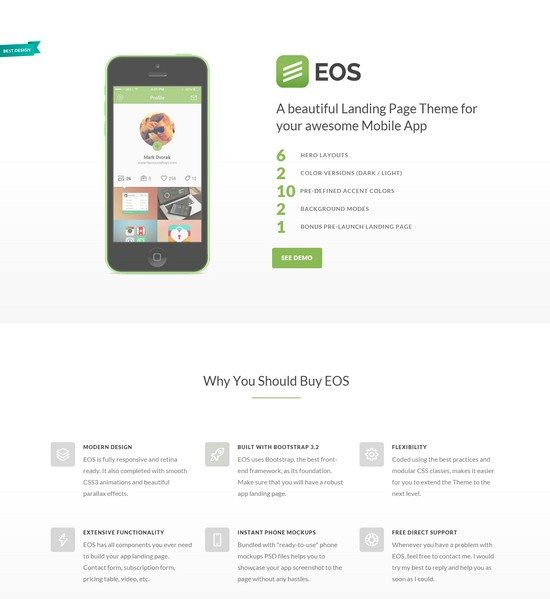 EOS - A Responsive App Landing Theme