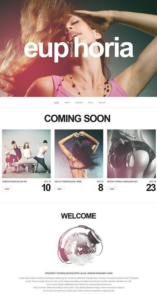 EUPHORIA Night Club Responsive Website Template