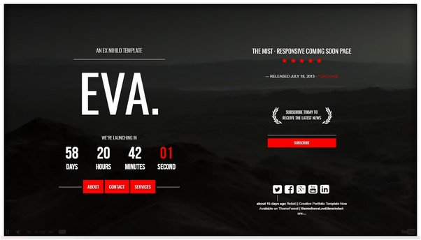 EVA. Responsive Coming Soon Page