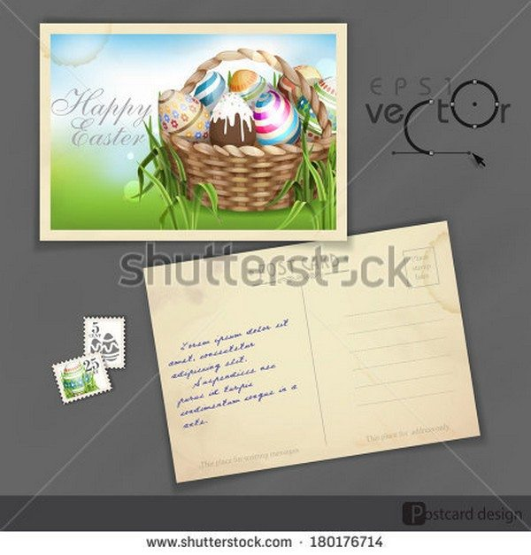 Easter Background With A Basket Postcard