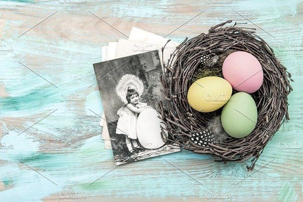 Easter eggs and vintage postcard