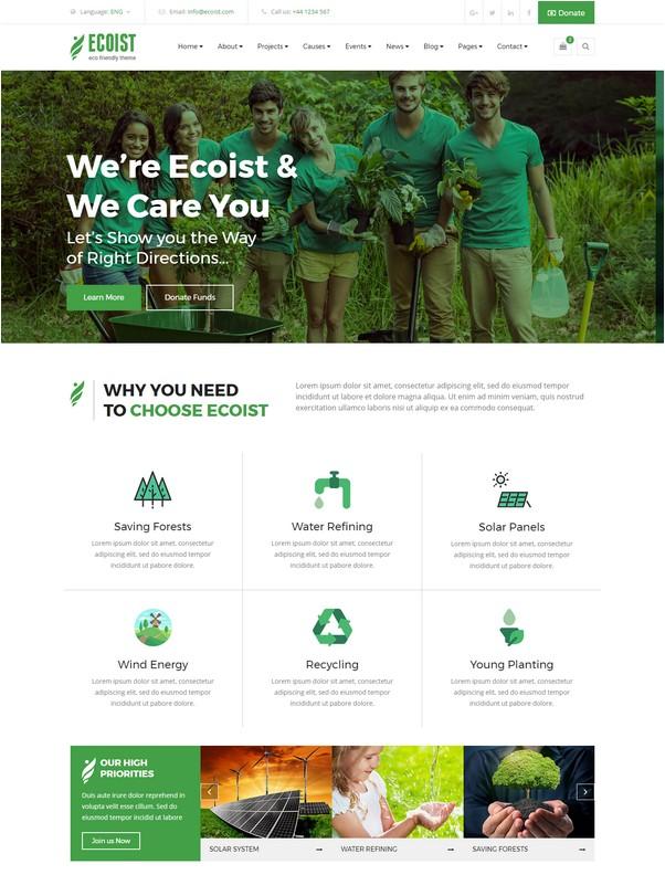 Ecoist - Environment & Non-Profit HTML Template