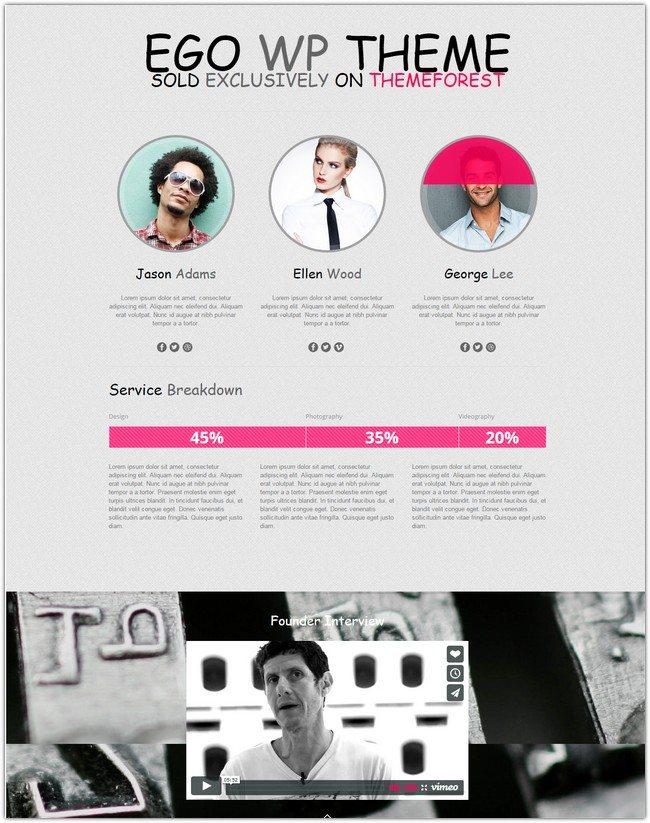 Ego Onepage Parallax Responsive WordPress Theme