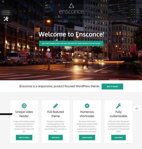 Ensconce - Responsive WordPress Video Landing Page