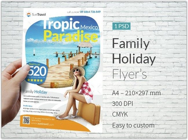 Family Holiday A4 Flyer Template