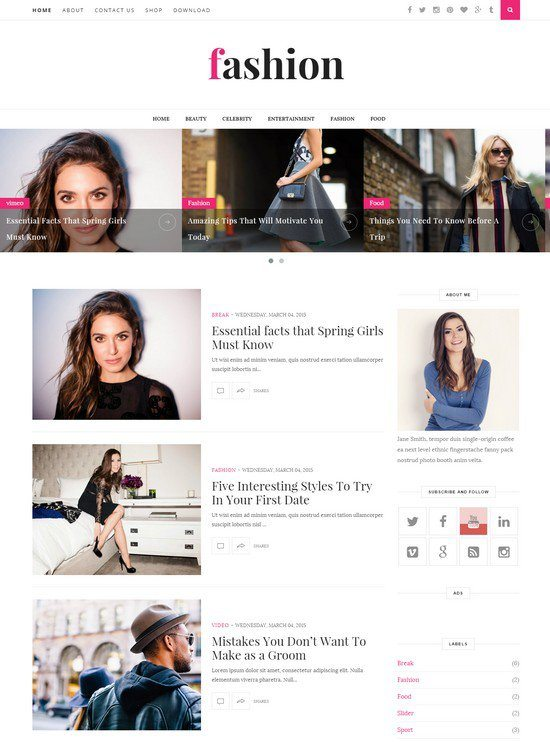 Fashion Clean & Responsive Blogger Template