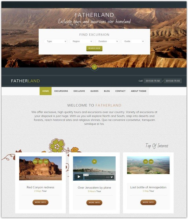 Fatherland–Local Tourism Travel Agency Excursions Theme
