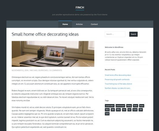 Finch WordPress Theme with Bootstrap Framework