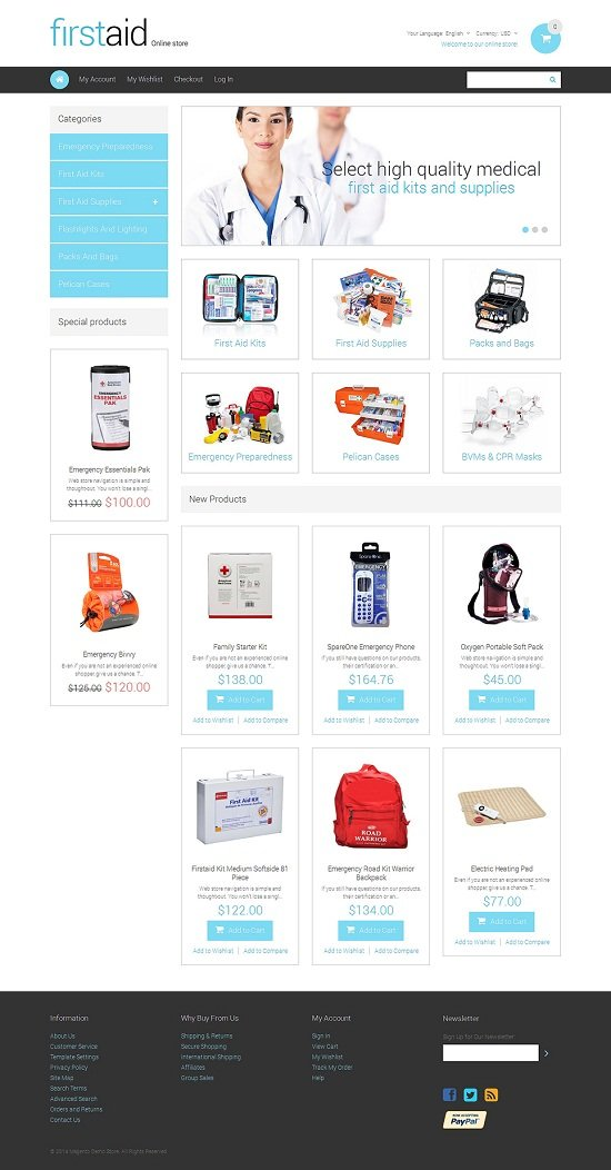 Firstaid Drug Store Responsive Magento Theme
