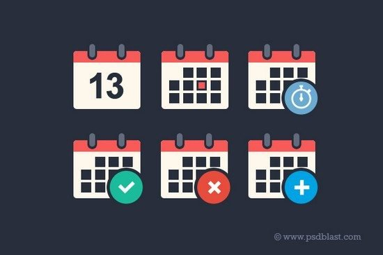 Flat Calendar Icon Set (PSD)