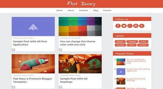 Flat Diary Premium Responsive Blogger Template