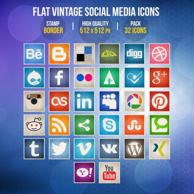 Flat Vintage Social Media Icons