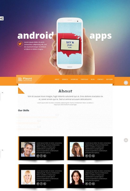 Flaunt - Parallax HTML5 Landing Page