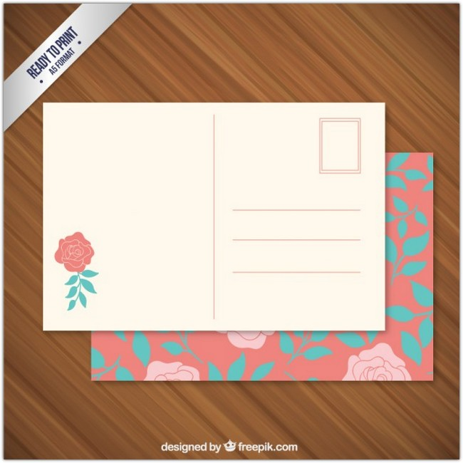 Floral Post Card Free Vector