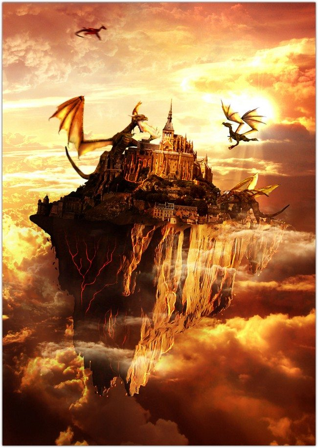 Flying Land Illustration On Fire
