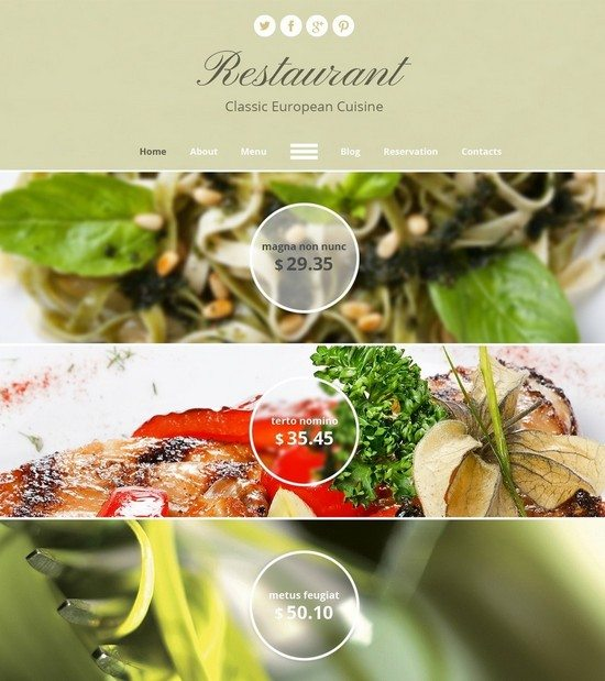 Free HTML5 Theme for Restaurant Site