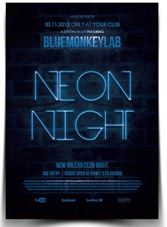 Free Neon Night Flyer Poster