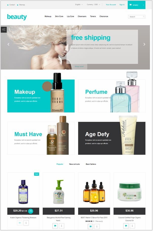 Beauty Store Free PHP Website
