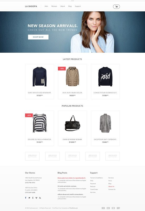 Free PSD eCommerce Website Templates