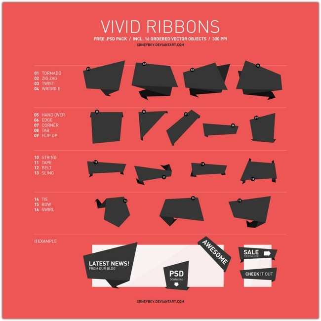 Free Vivid Vector Ribbon Pack