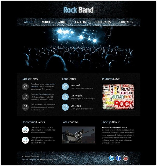 Free Website Template with jQuery Gallery – Music