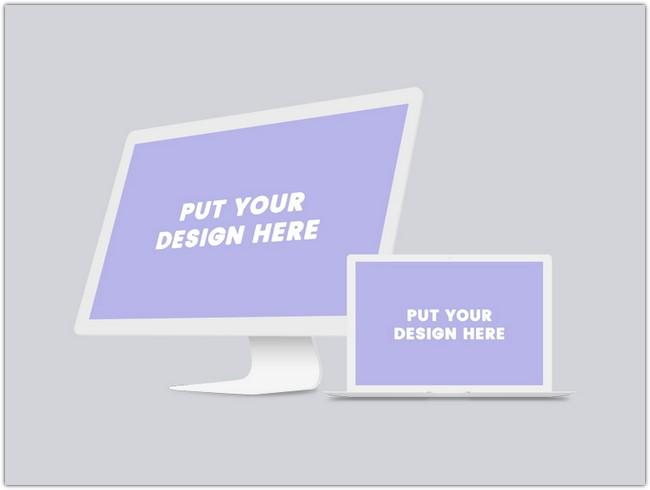 Free iMac & Macbook PSD Mockup