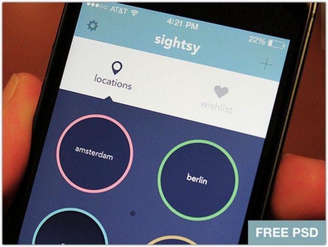 Free iOS7 app PSD - Sightsy