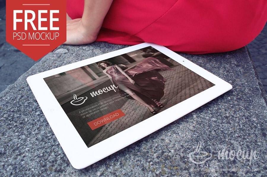 Free iPad Mockup Lady in Italy