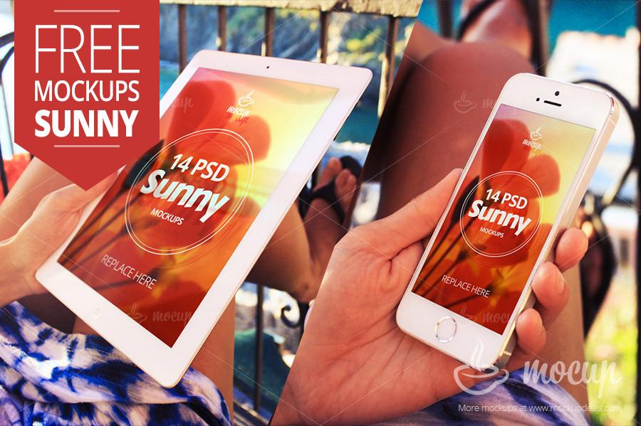 Free iPad and iPhone Mockup Sunny