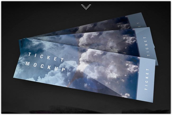 Free Ticket PSD Mockup