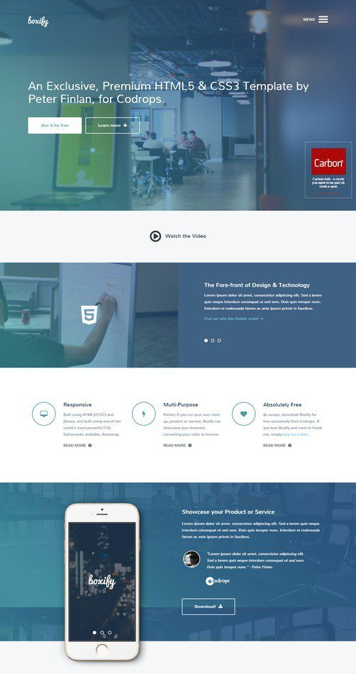 Freebie Boxify One Page Website Template