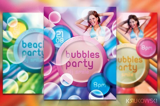 Freebie Bubbles Party Flyer Template