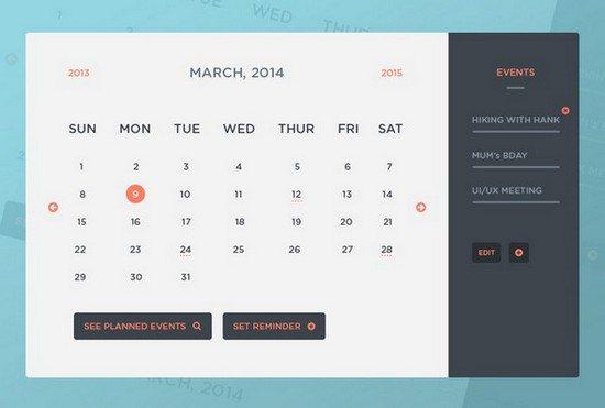 Freebie PSD Calendar UI & Events