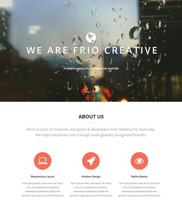 Frio One Page Parallax Responsive Template