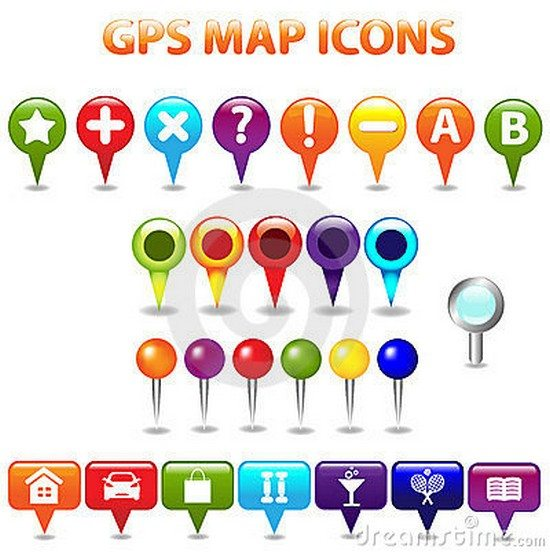 GPS Color Map Icons. Vector