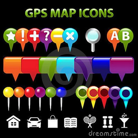 GPS Map Icons. Vector