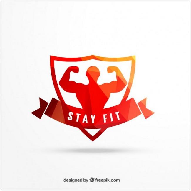 Geometrical workout emblem Free Vector