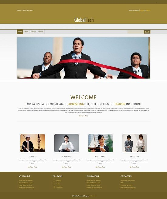 Global Tech Corporate Business Mobile Website Template