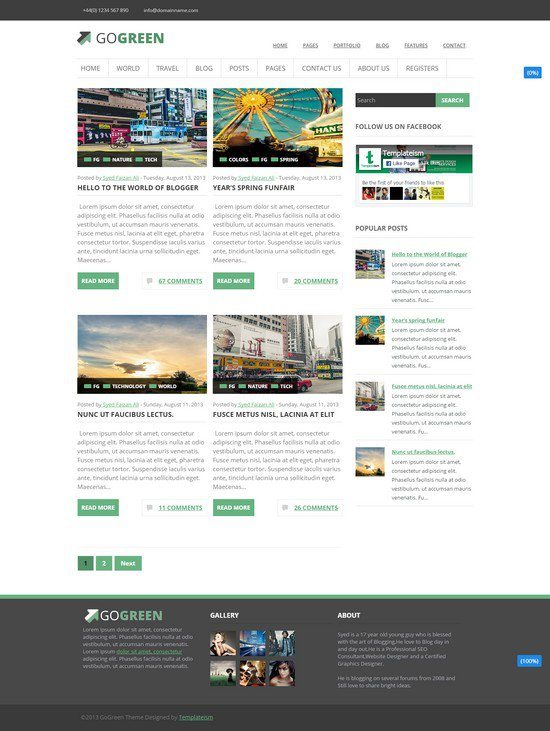 GoGreen is a multipurpose Blogger template