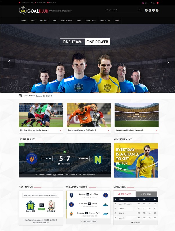 Goal Club Sports & Events WordPress Theme