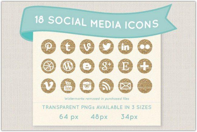 Gold glitter social media icon set