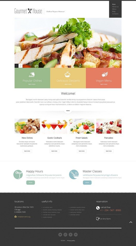 Gourmet Hous European Restaurant Responsive Joomla Template