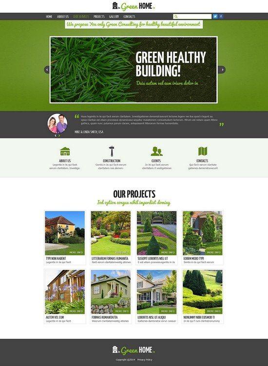 Green Home Exterior Design Responsive Website Template