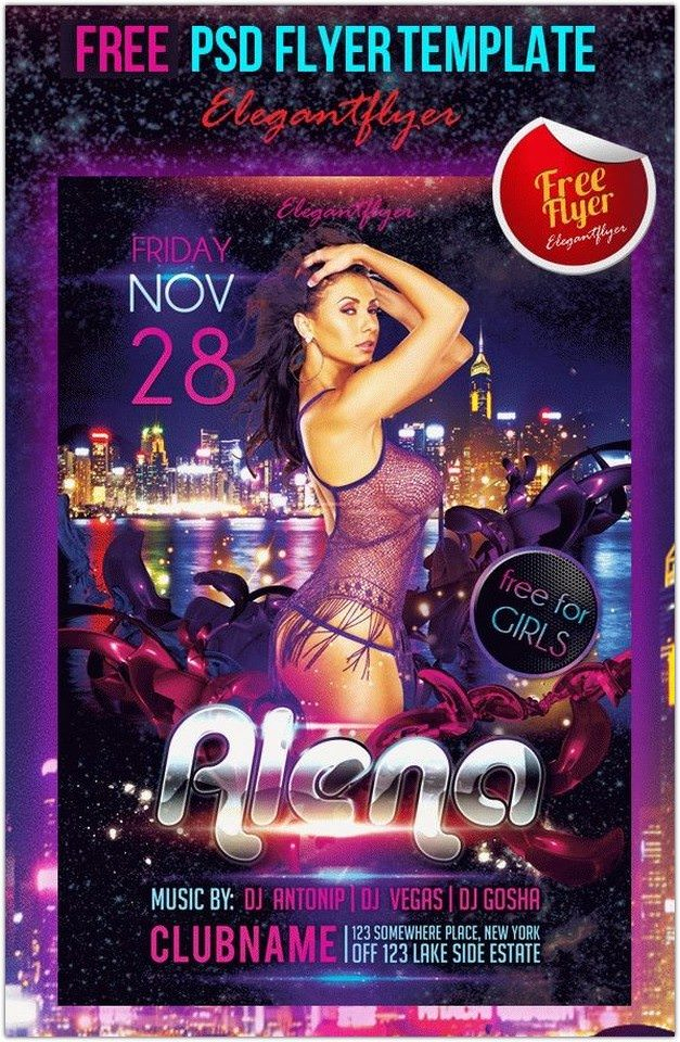 Guest DJ Party Alena – Free Club and Party Flyer PSD Template